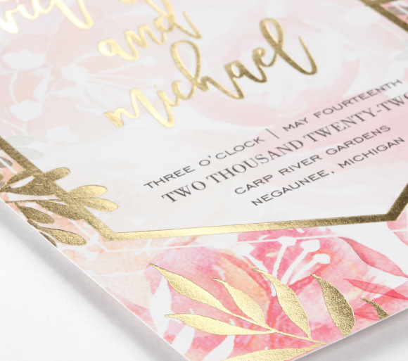 Carlson Craft - Vibrant Botanicals Invitation from the Trend Collection.
