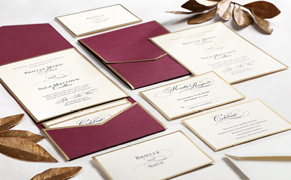 Carlson Craft Wedding Invitation Ensembles - Burgundy with gold frame.