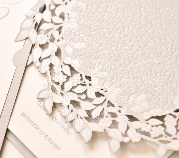 Delicate Wreath Design Invitation from Regina Craft's The Love Signature Collection.