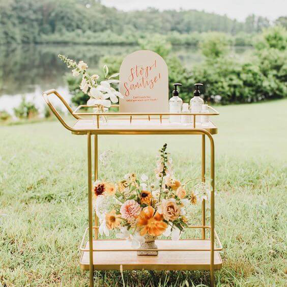 Sanitizer Station idea for Covid-19 wedding guests.