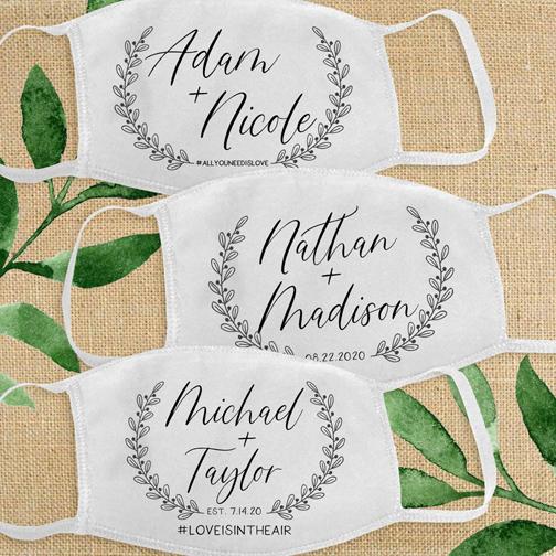 Personalized Covid-19 wedding masks.